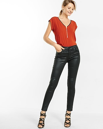 piped lace shoulder zip front tee