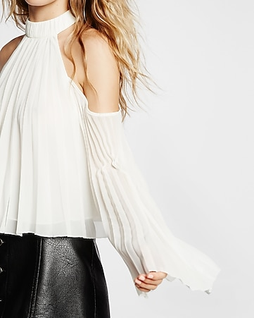 high neck pleated cold shoulder blouse