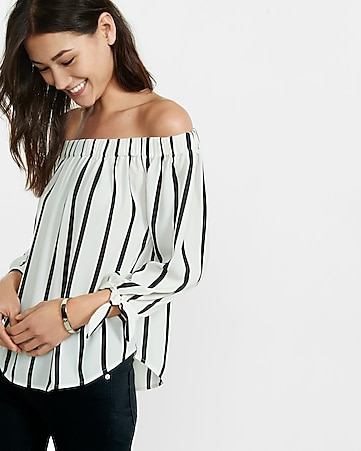striped off the shoulder tie sleeve blouse