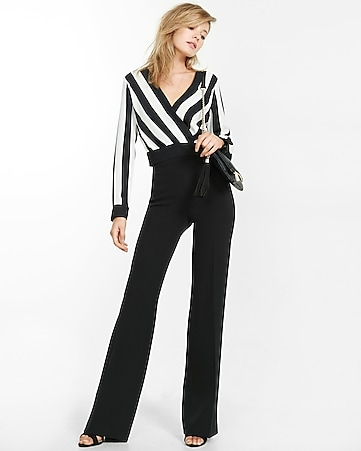 striped surplice banded bottom cropped blouse