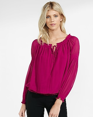Express Womens Off The Shoulder Smocked Tie-Neck Blouse Pink X Small