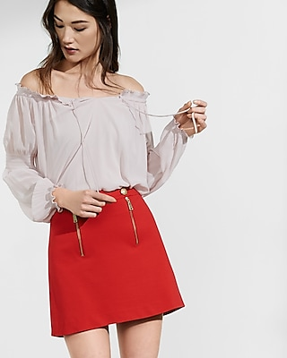 Express Womens Off The Shoulder Smocked Tie-Neck Blouse Pink Medium