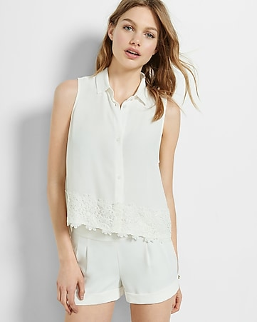 sleeveless lace hem shirt