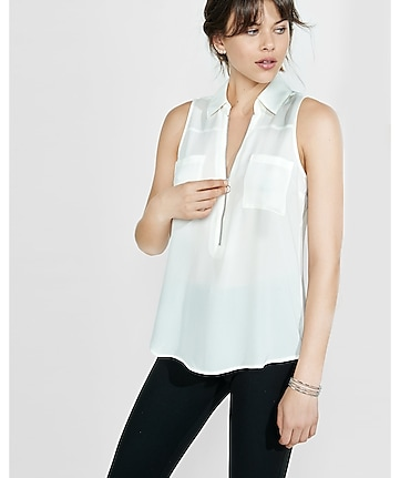 original fit sleeveless zip front portofino shirt