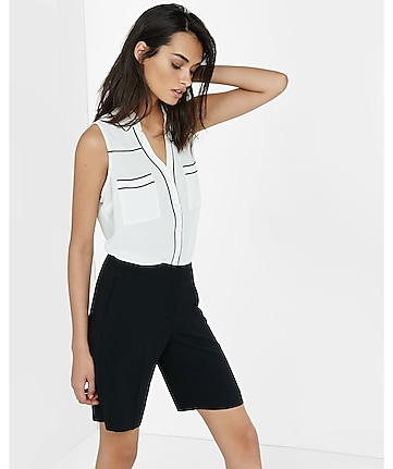 original fit piped sleeveless portofino shirt