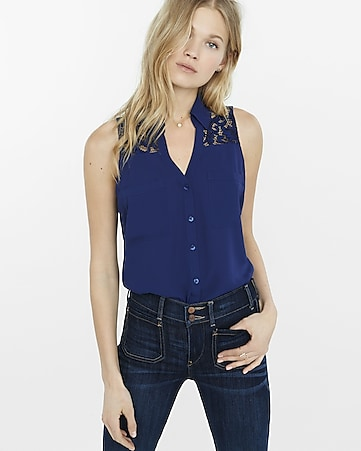 original fit lace yoke sleeveless portofino shirt