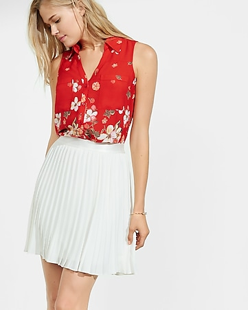 original fit floral sleeveless portofino shirt