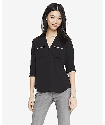 zip pocket half placket soft shirt