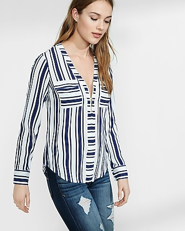 striped long sleeve zip front blouse