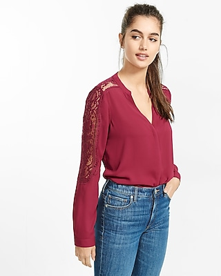 Express Womens Pieced Lace Notch Neck Blouse Pink X Small