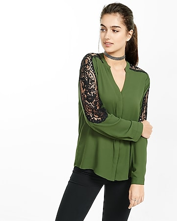 pieced lace notch neck blouse