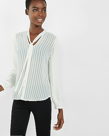 sheer stripe tie neck pleated sleeve shirt