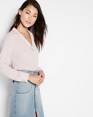Express Womens Slim Fit Notched Lapel Shirt Pink Medium