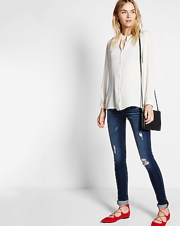 notched band collar blouse