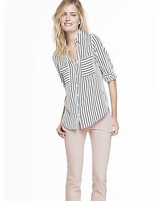 EXPRESS Women's Tops Original Fit Striped Portofino Shirt Blue XX Small