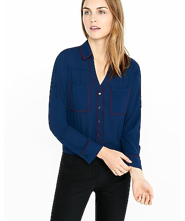 original fit berry contrast piped portofino shirt