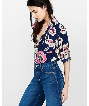 original fit floating floral portofino shirt