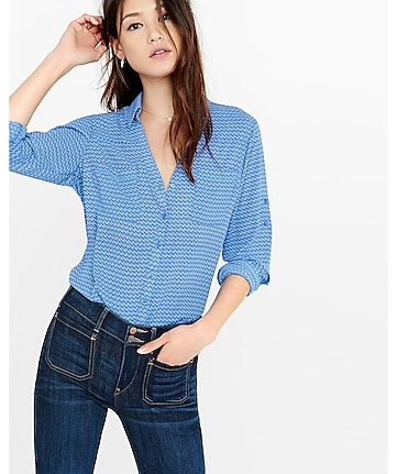 original fit blue chain print portofino shirt