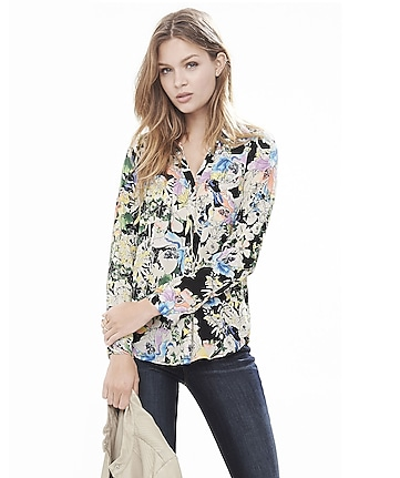 original fit watercolor floral portofino shirt