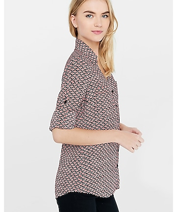 original fit filled heart print portofino shirt