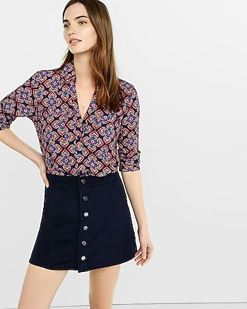 original fit floral medallion portofino shirt