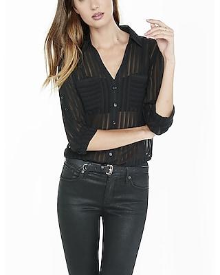 EXPRESS Women's Tops Original Fit Sheer Stripe  Portofino Shirt