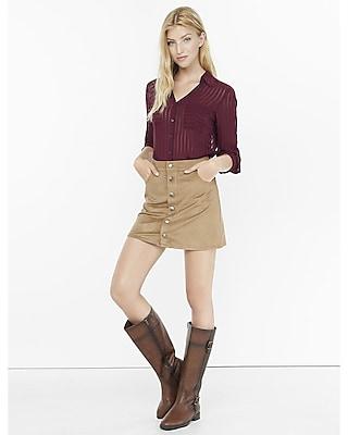 EXPRESS Women's Tops Original Fit Sheer Stripe  Portofino Shirt Pink XX Small