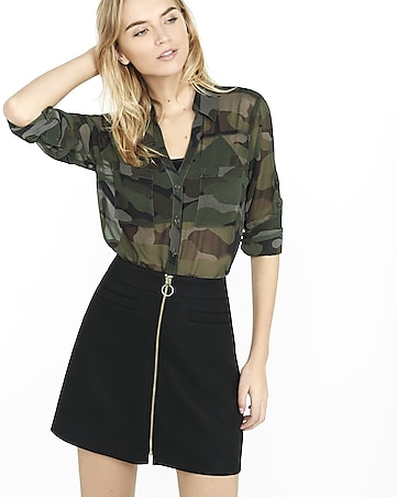 original fit sheer camouflage portofino shirt