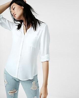 EXPRESS Women's Tops Slim Fit Convertible Sleeve Portofino Shirt White Small