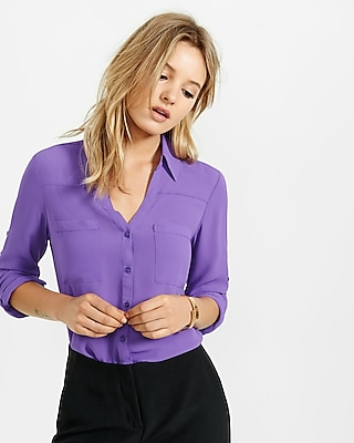 Express Womens Slim Fit Convertible Sleeve Portofino Shirt Purple Medium
