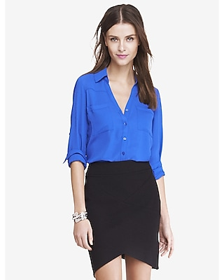 EXPRESS Women's Tops Slim Fit Convertible Sleeve Portofino Shirt Blue Large