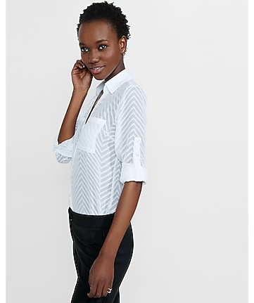 original fit sheer chevron stripe portofino shirt