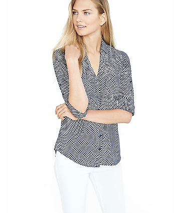 slim fit navy and white polka dot portofino shirt
