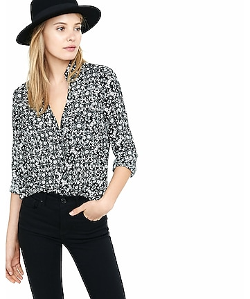 slim fit scroll print portofino shirt