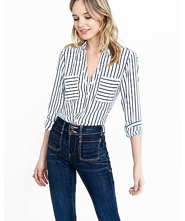 slim fit navy and white striped portofino shirt