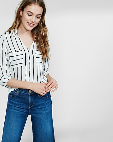slim fit black and white stripe portofino shirt