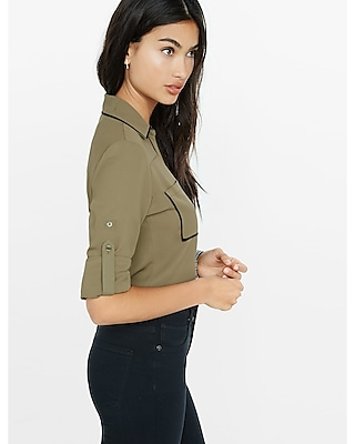 Express Womens Slim Fit Olive Contrast Piping Portofino Shirt