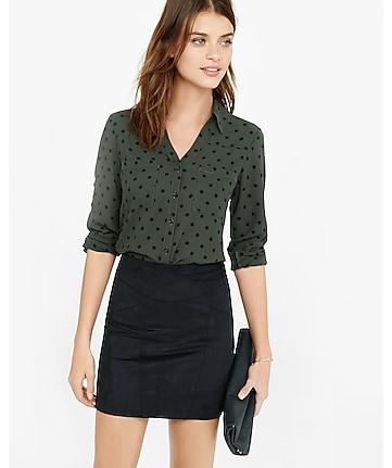 slim fit olive and black polka dot portofino shirt