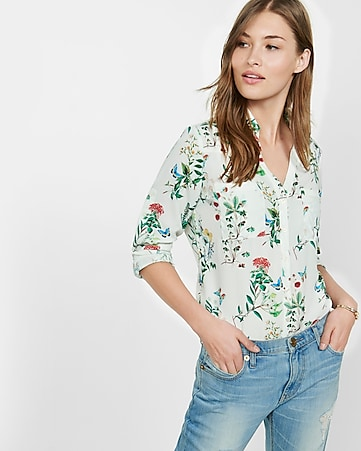 original fit butterfly print portofino shirt