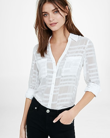 slim fit sheer white plaid portofino shirt