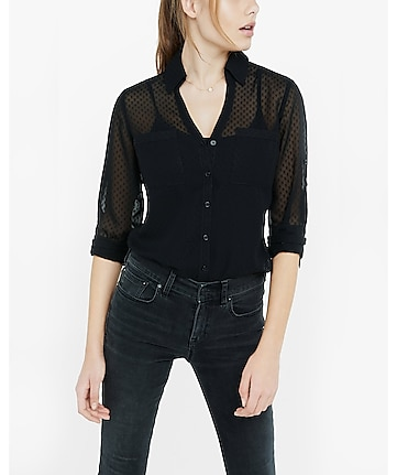 original fit sheer polka dot portofino shirt