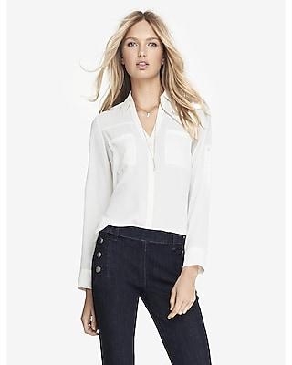 Express Womens Original Fit Convertible Sleeve Portofino Shirt