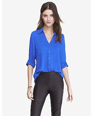 EXPRESS Women's Tops Original Fit Convertible Sleeve Portofino Shirt