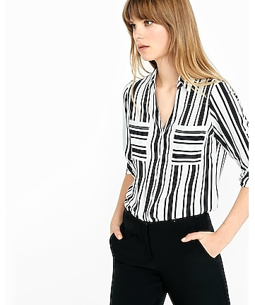 original fit vertical bar stripe portofino shirt