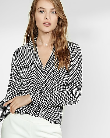 original fit black and white dot portofino shirt