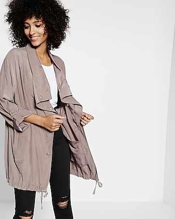 gray roll sleeve drapey anorak