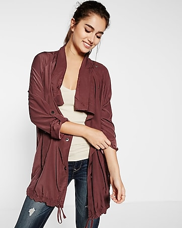 dark berry roll sleeve drapey anorak