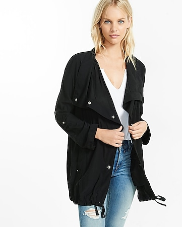 black roll sleeve drapey anorak