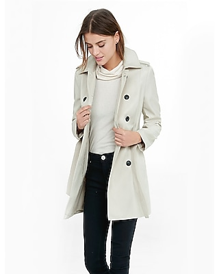 Express Womens Classic Trench Coat With Trapunto Stitch Sash
