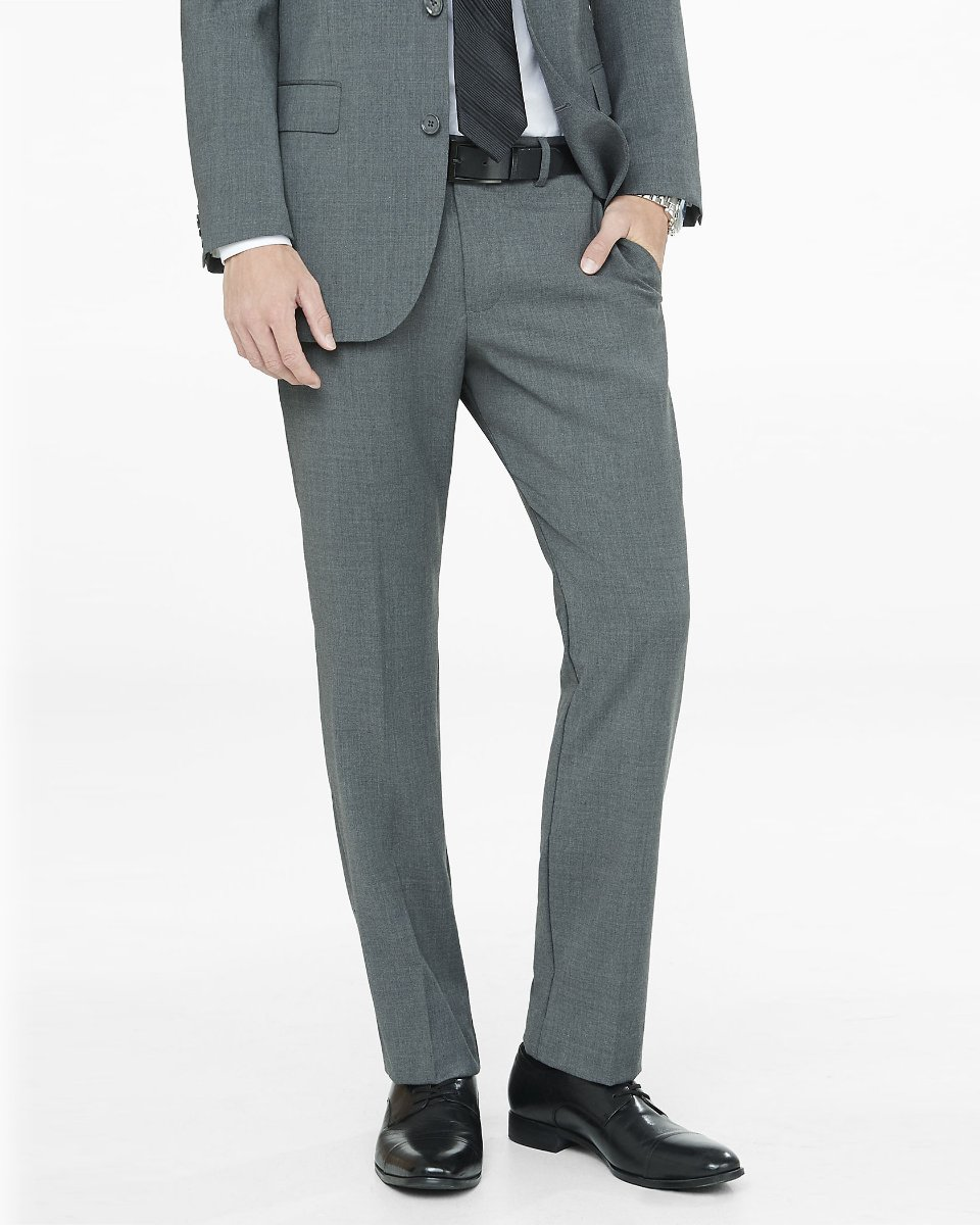 GRAY WOOL BLEND PRODUCER SUIT PANT